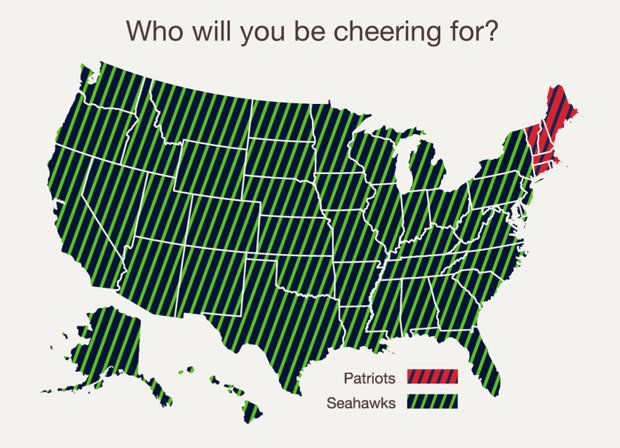 How States Rooted For Super bowl 49.